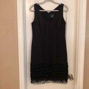 Adrianna Papell Black Fringe Dress